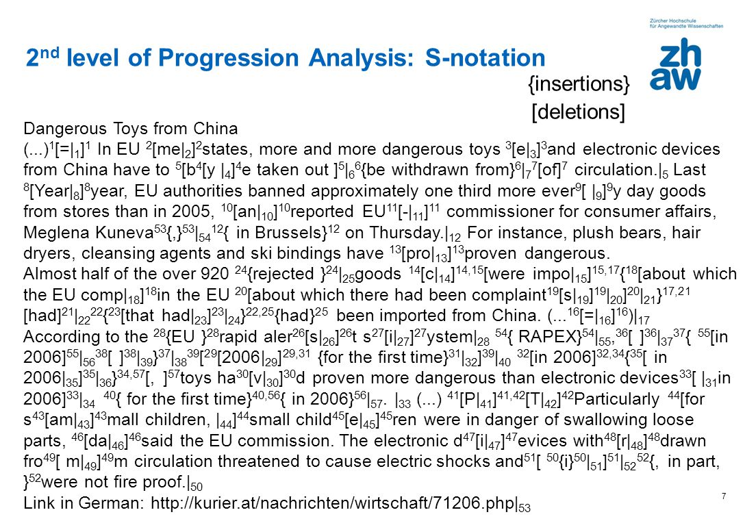 2nd level of Progression Analysis: S-notation