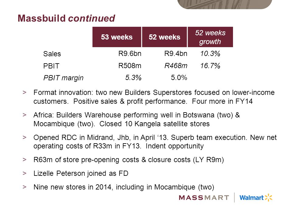 Massbuild continued 53 weeks 52 weeks 52 weeks growth Sales R9.6bn
