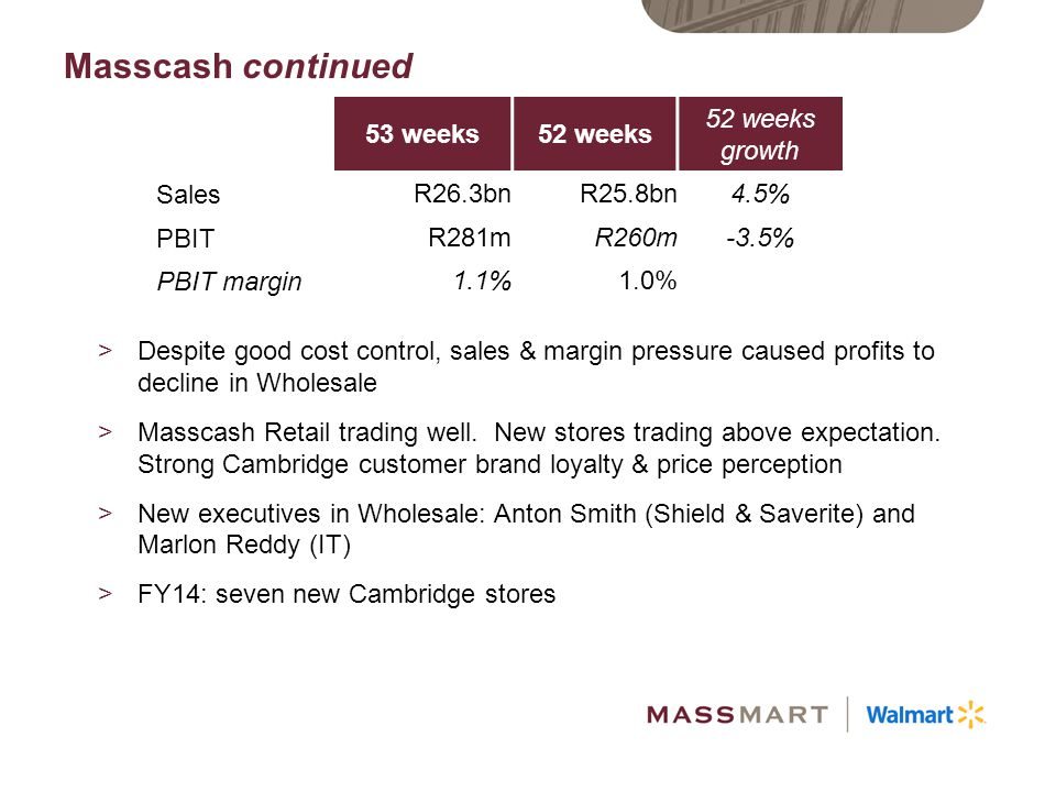 Masscash continued 53 weeks 52 weeks 52 weeks growth Sales R26.3bn