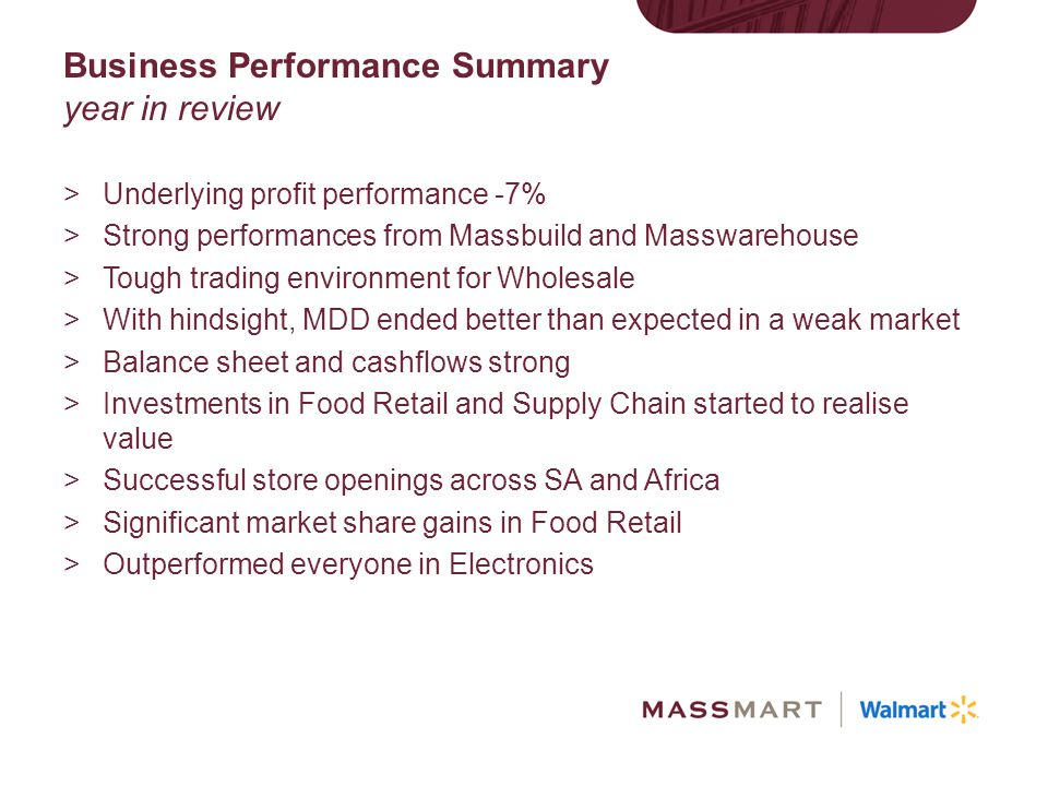 Business Performance Summary year in review