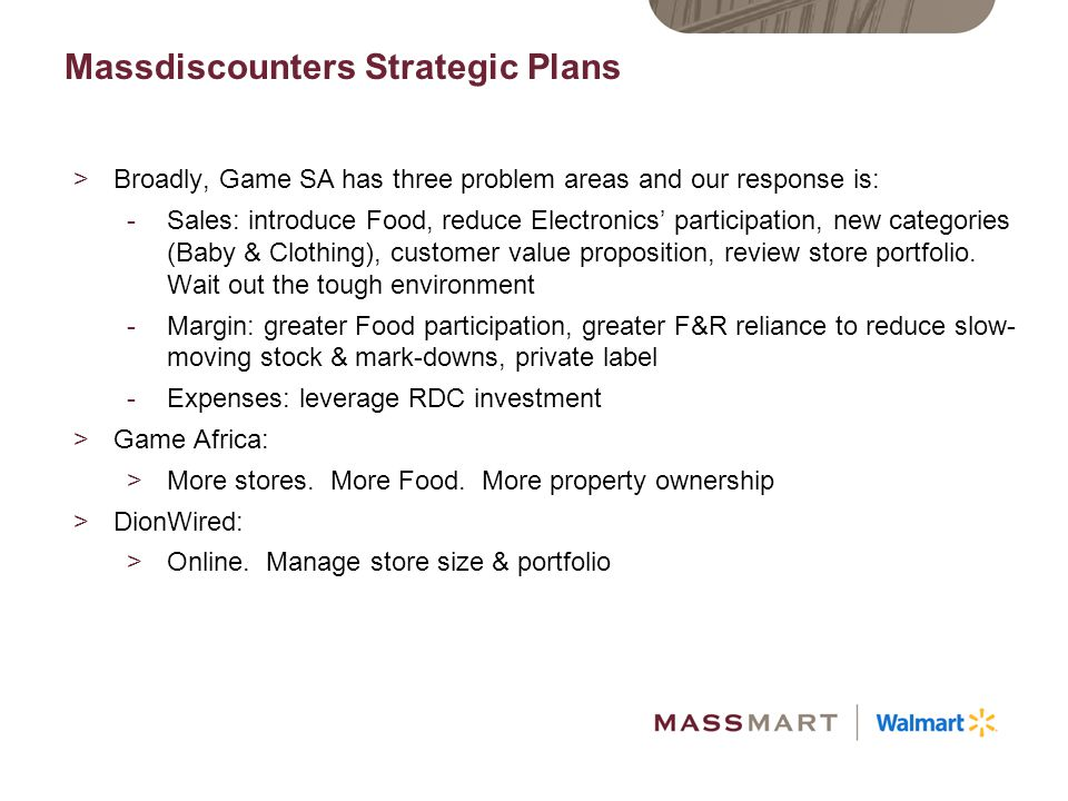 Massdiscounters Strategic Plans