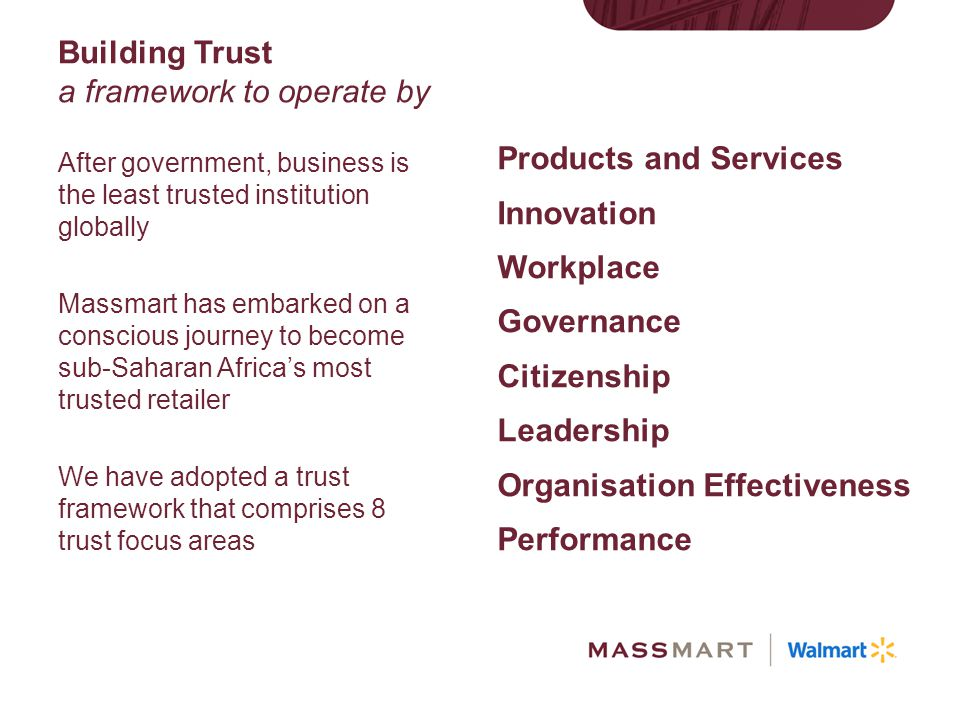 Building Trust a framework to operate by