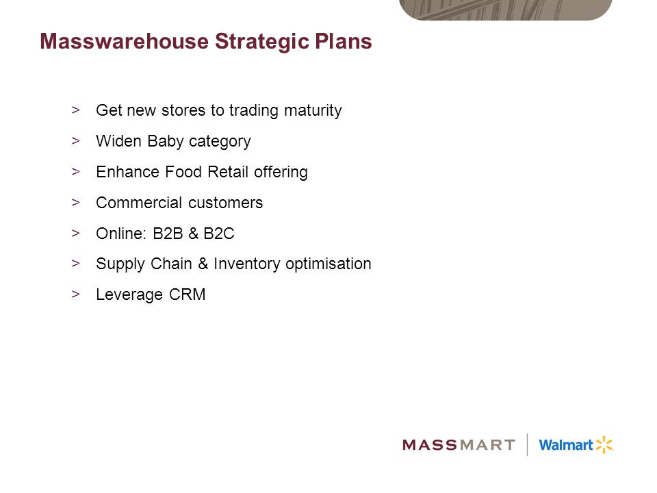 Masswarehouse Strategic Plans