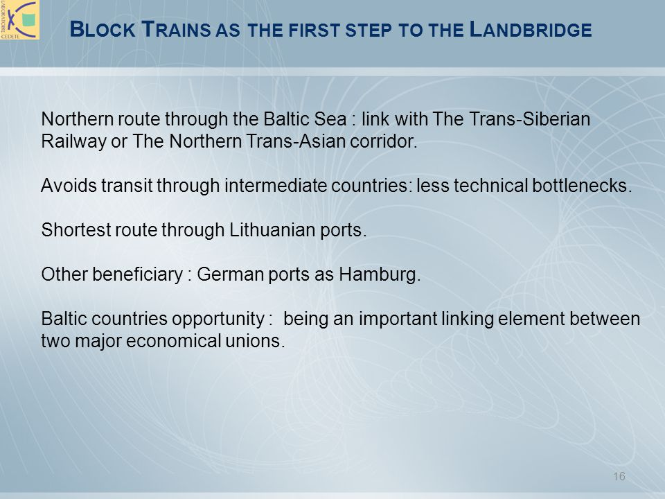 Block Trains as the first step to the Landbridge