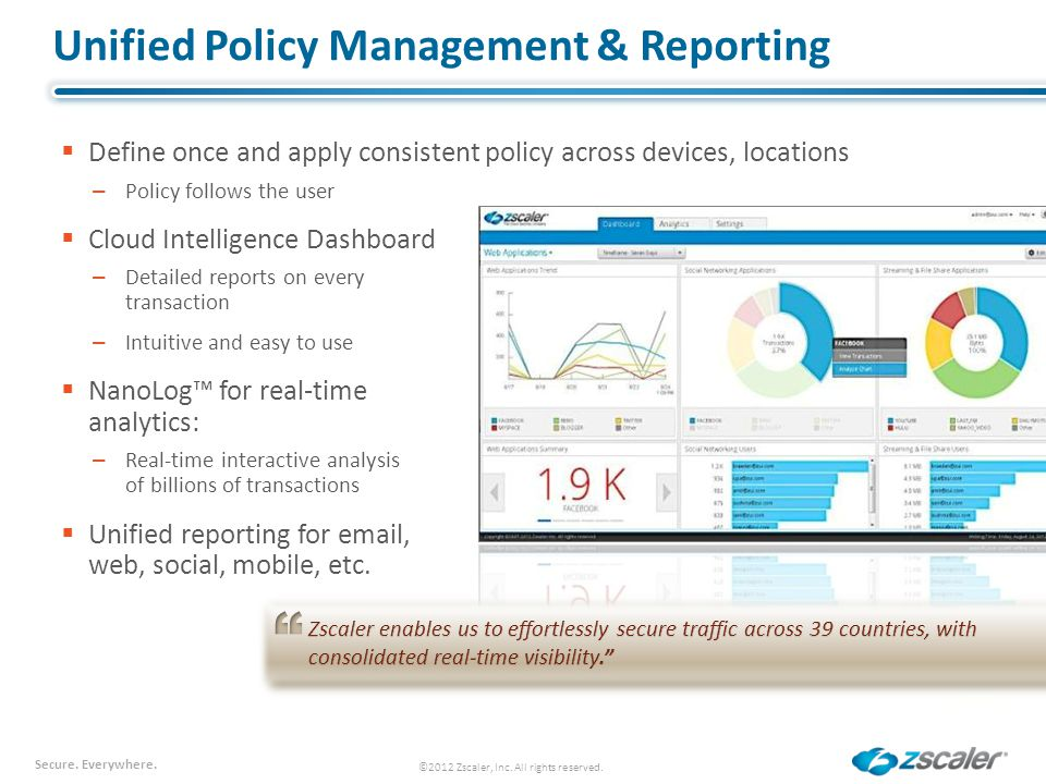 Unified Policy Management & Reporting