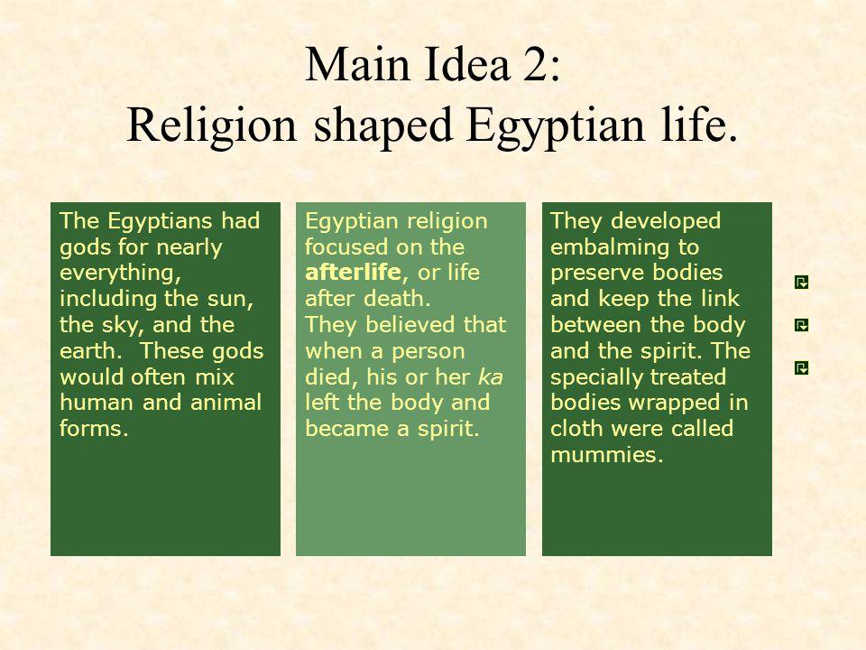 Main Idea 2: Religion shaped Egyptian life.