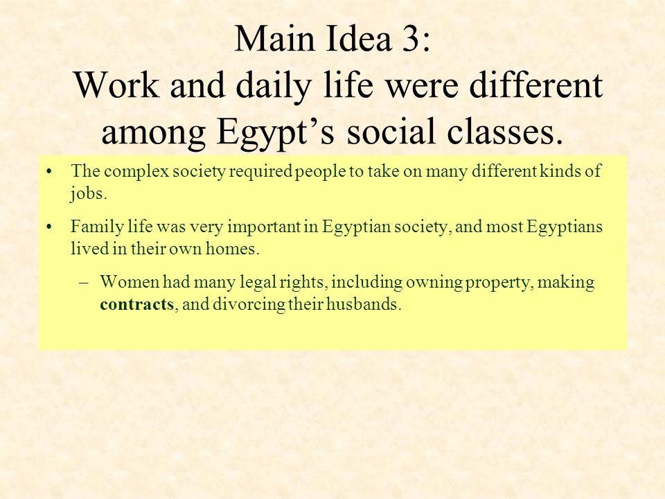 Main Idea 3: Work and daily life were different among Egypt's social classes.