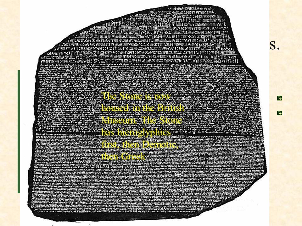 Main Idea 1: Egyptian writing used hieroglyphics.
