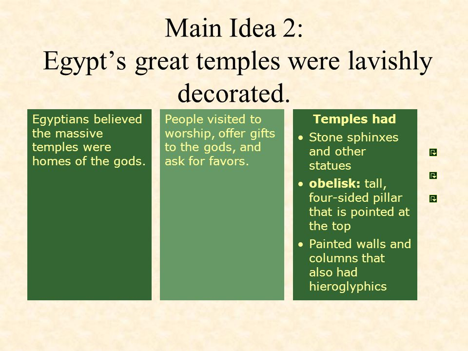 Main Idea 2: Egypt's great temples were lavishly decorated.