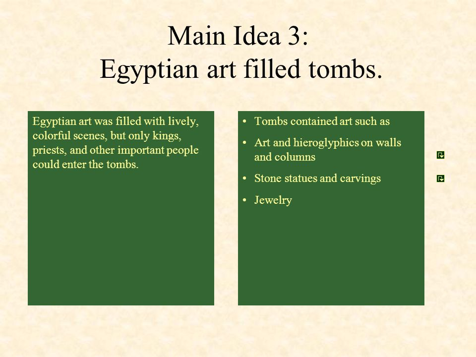 Main Idea 3: Egyptian art filled tombs.