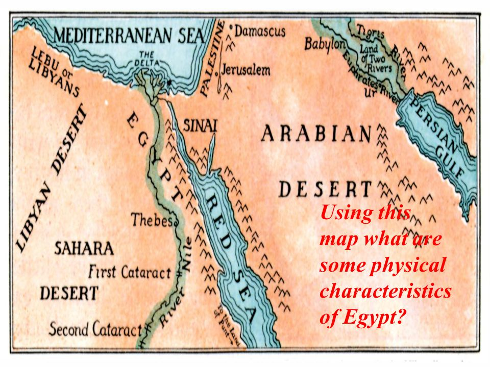Using this map what are some physical characteristics of Egypt