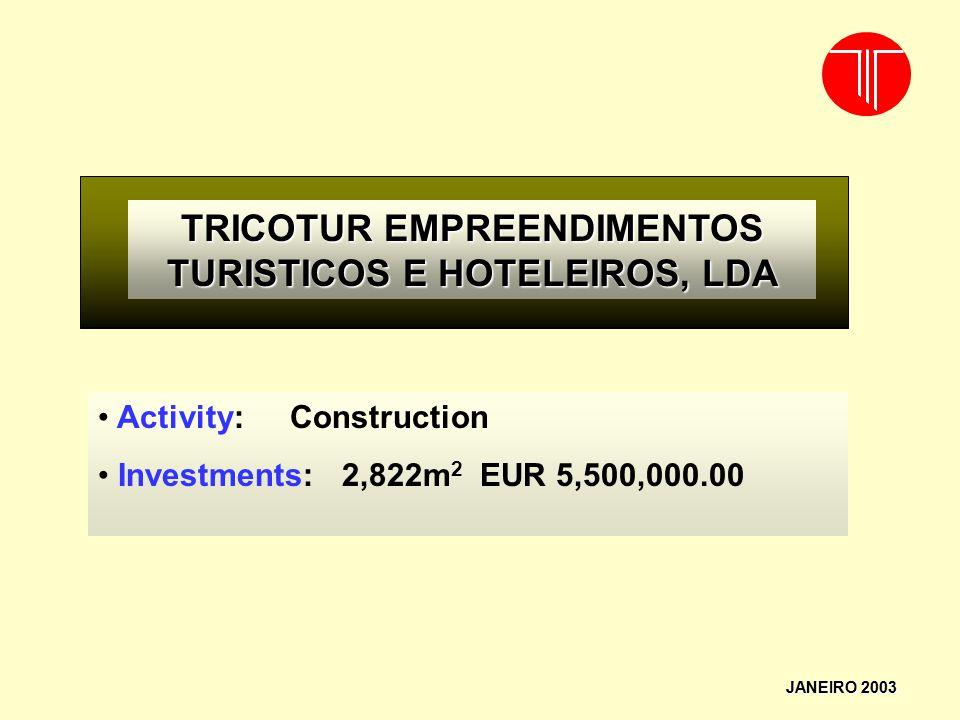 TRICOTUR EMPREENDIMENTOS TURISTICOS E HOTELEIROS, LDA