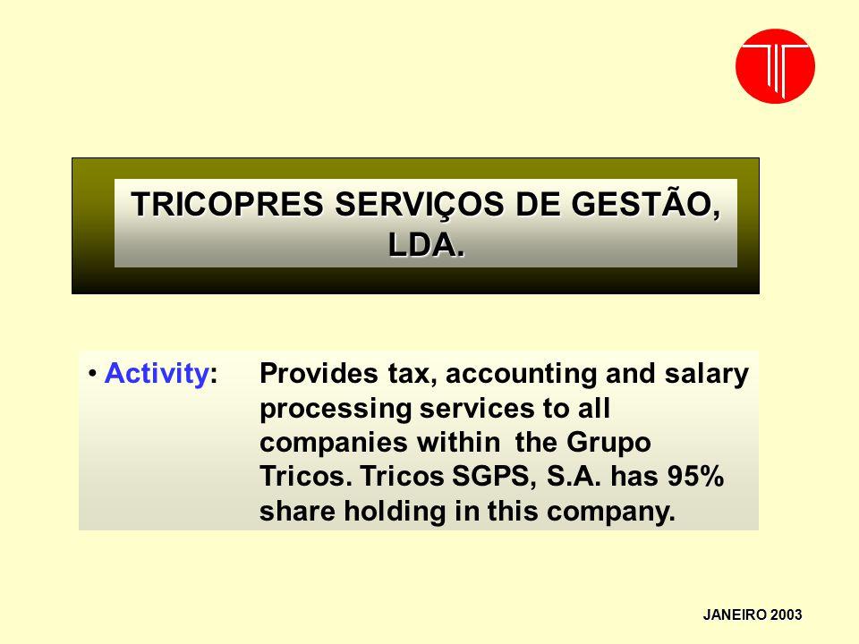 TRICOPRES SERVIÇOS DE GESTÃO, LDA.