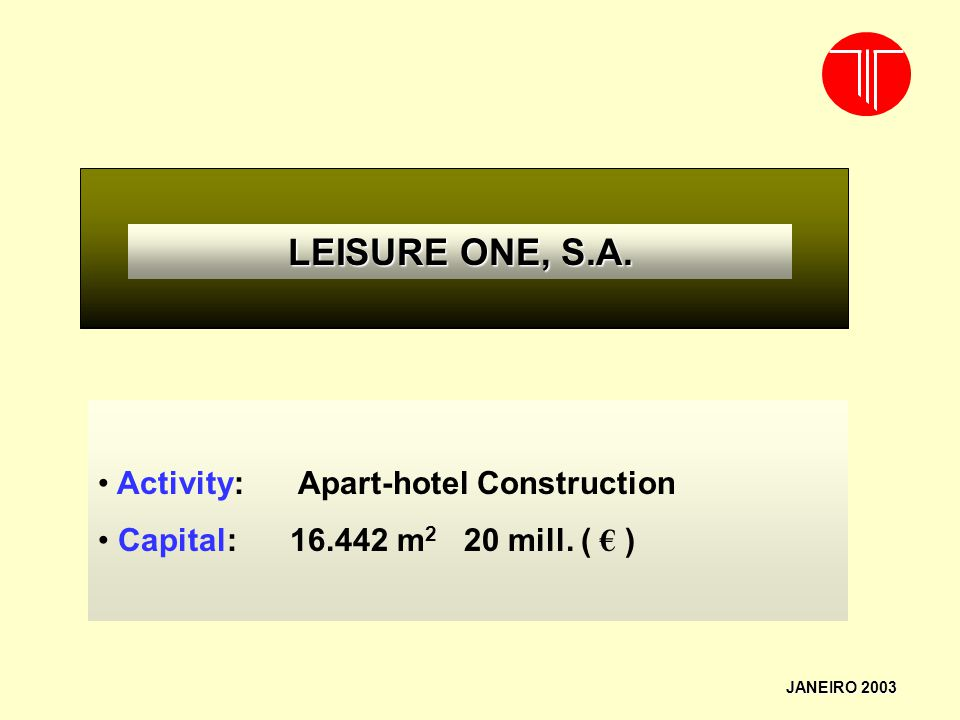 LEISURE ONE, S.A. Activity: Apart-hotel Construction