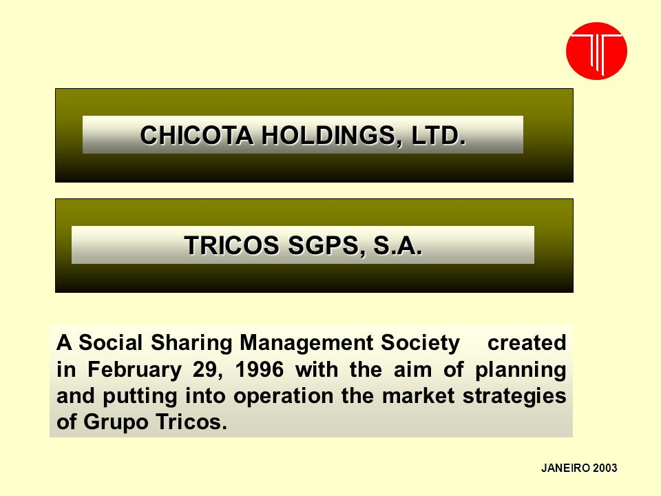 CHICOTA HOLDINGS, LTD. TRICOS SGPS, S.A.