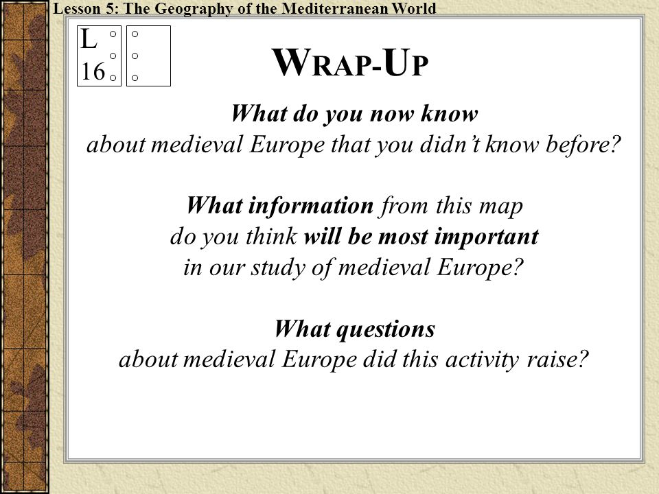 WRAP-UP L 16 What do you now know