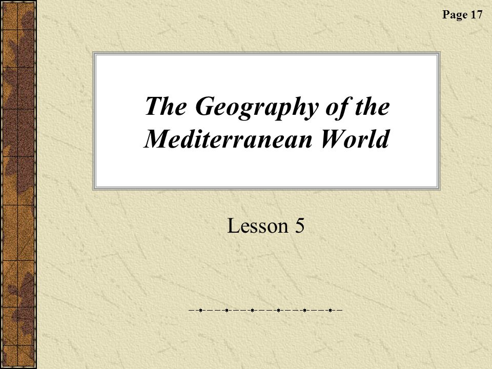 The Geography of the Mediterranean World
