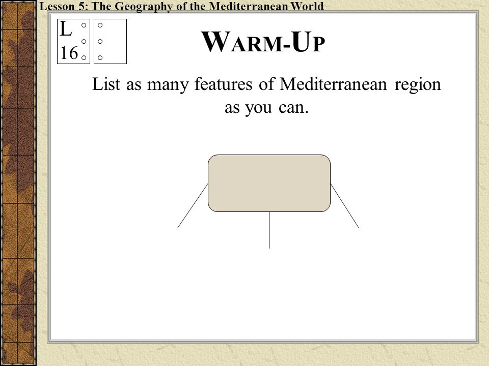 List as many features of Mediterranean region as you can.