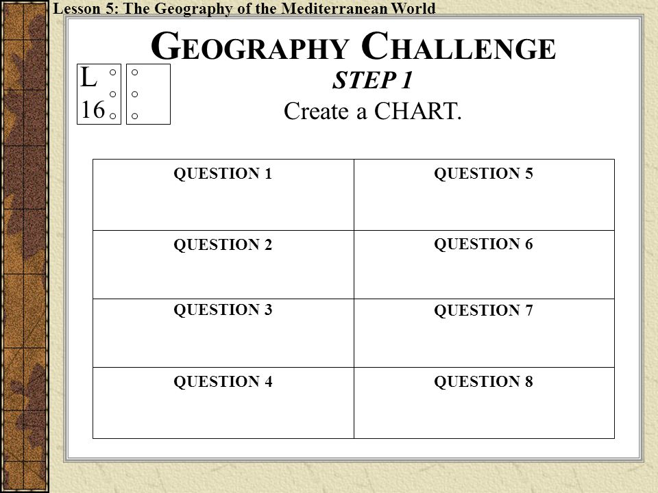 GEOGRAPHY CHALLENGE L STEP 1 16 Create a CHART.