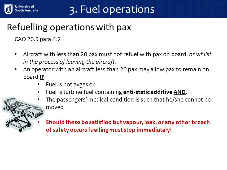 3. Fuel operations Refuelling operations with pax CAO 20.9 para 4.2