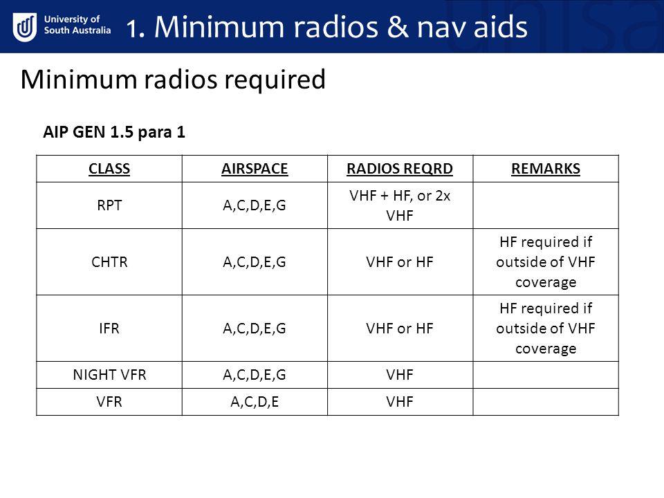 1. Minimum radios & nav aids