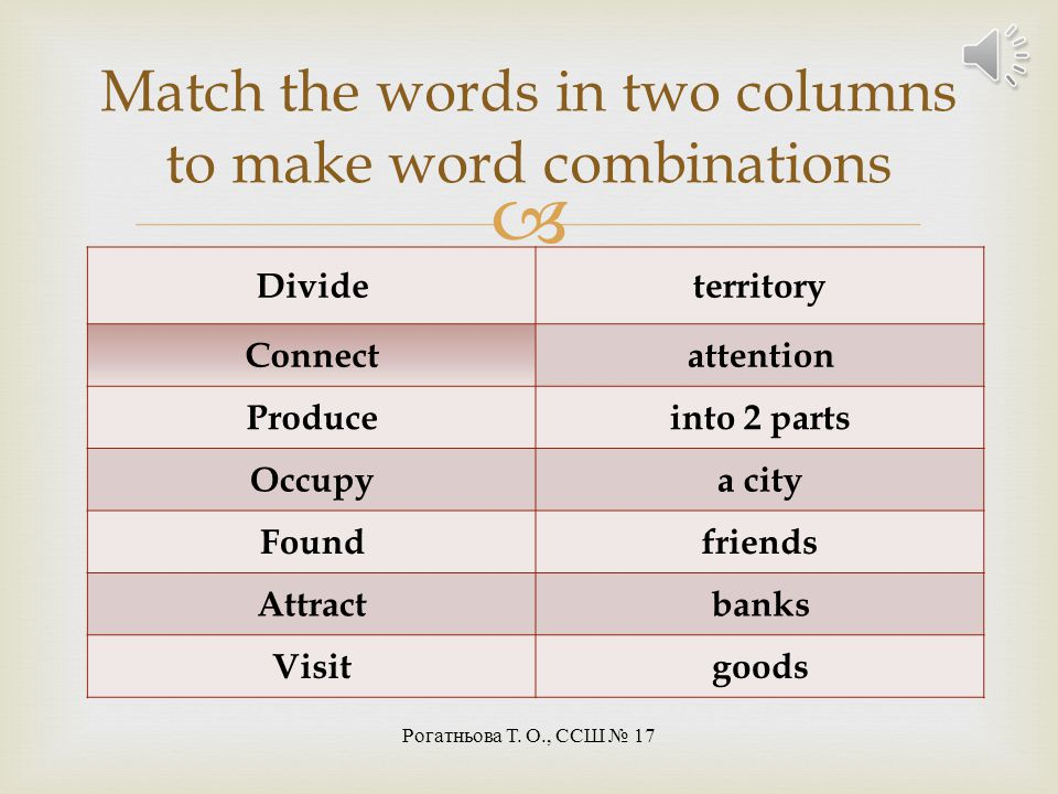 Match the words in two columns to make word combinations