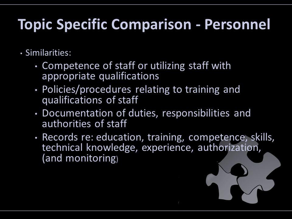 Topic Specific Comparison - Personnel