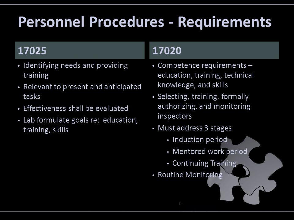 Personnel Procedures - Requirements
