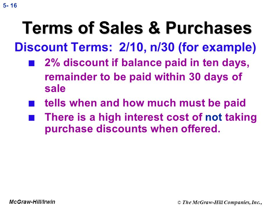 Terms of Sales & Purchases