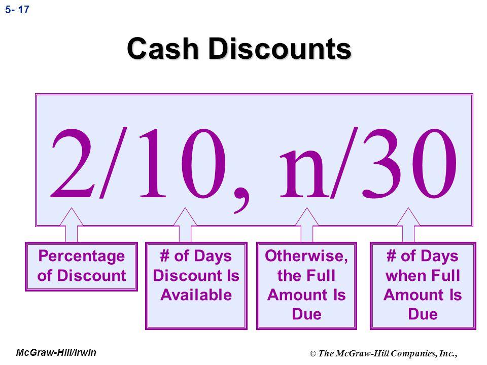 2/10, n/30 Cash Discounts Percentage of Discount