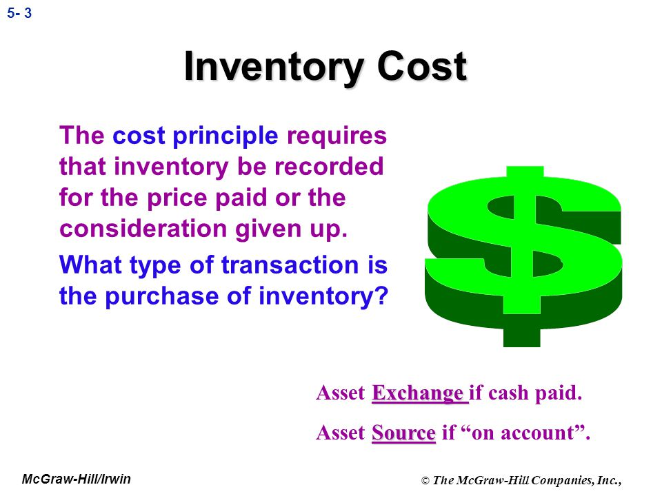 Inventory Cost The cost principle requires that inventory be recorded for the price paid or the consideration given up.