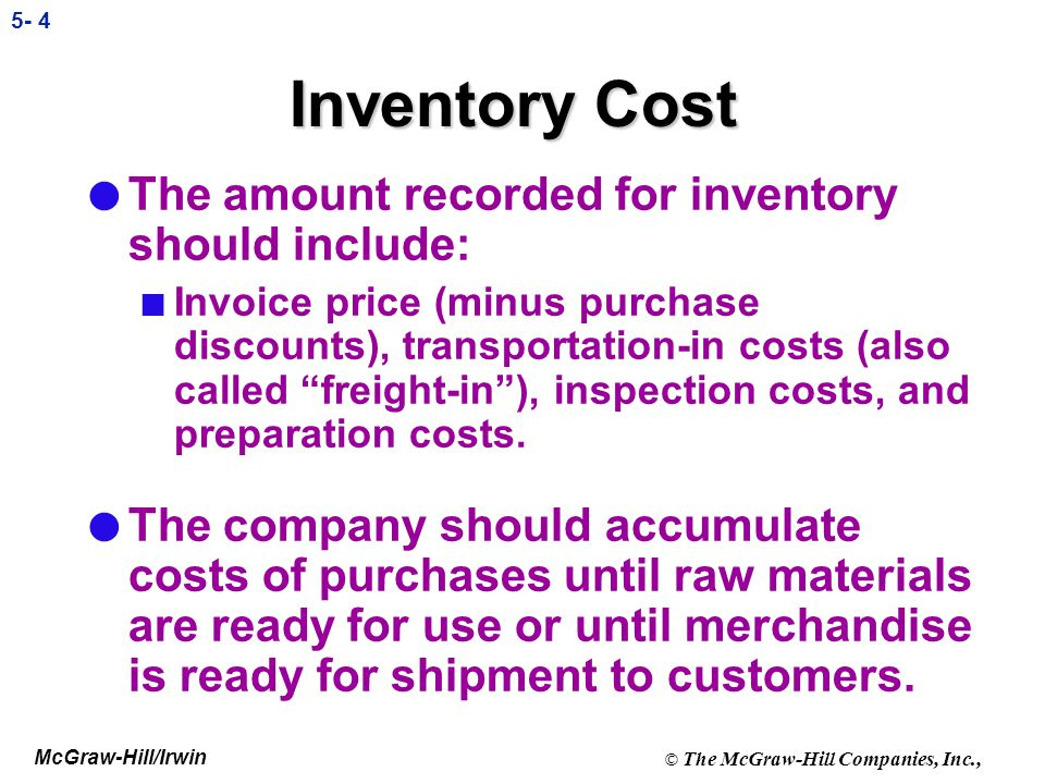 Inventory Cost The amount recorded for inventory should include: