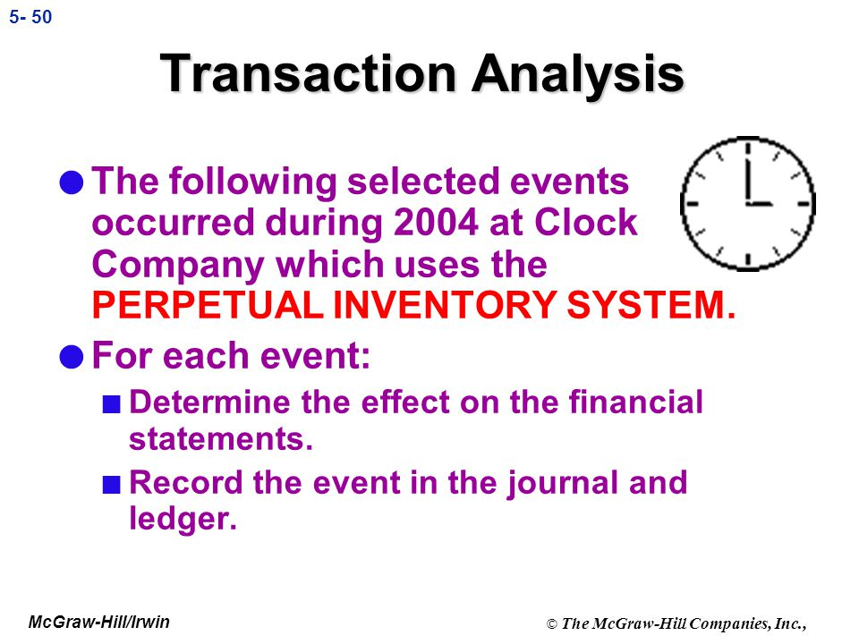 Transaction Analysis The following selected events occurred during 2004 at Clock Company which uses the PERPETUAL INVENTORY SYSTEM.