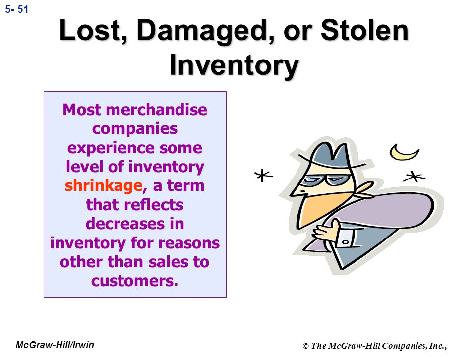 Lost, Damaged, or Stolen Inventory