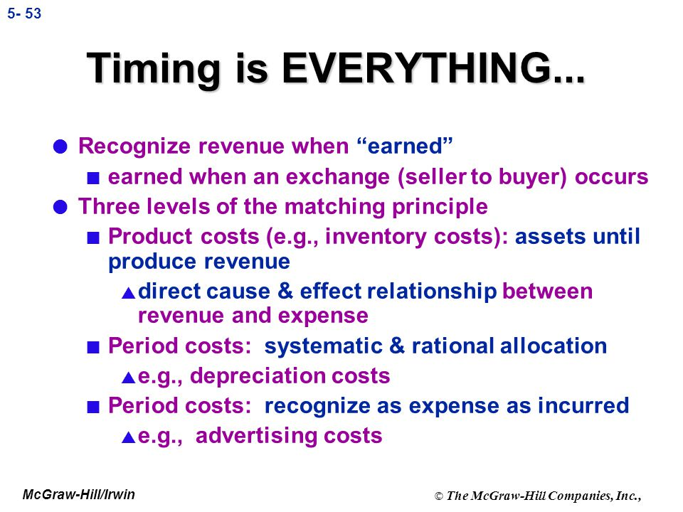 Timing is EVERYTHING... Recognize revenue when earned