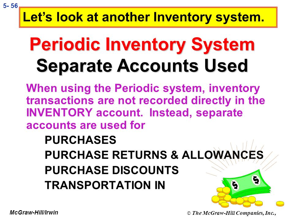 Periodic Inventory System Separate Accounts Used