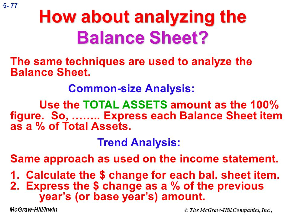 How about analyzing the Balance Sheet