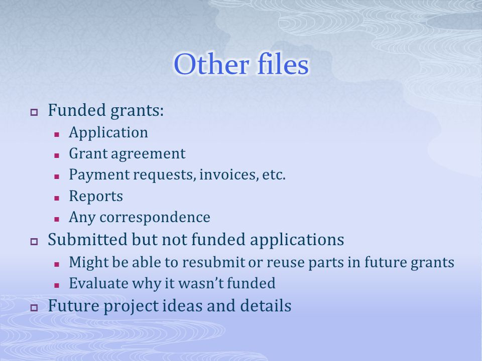 Other files Funded grants: Submitted but not funded applications