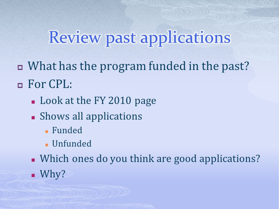 Review past applications