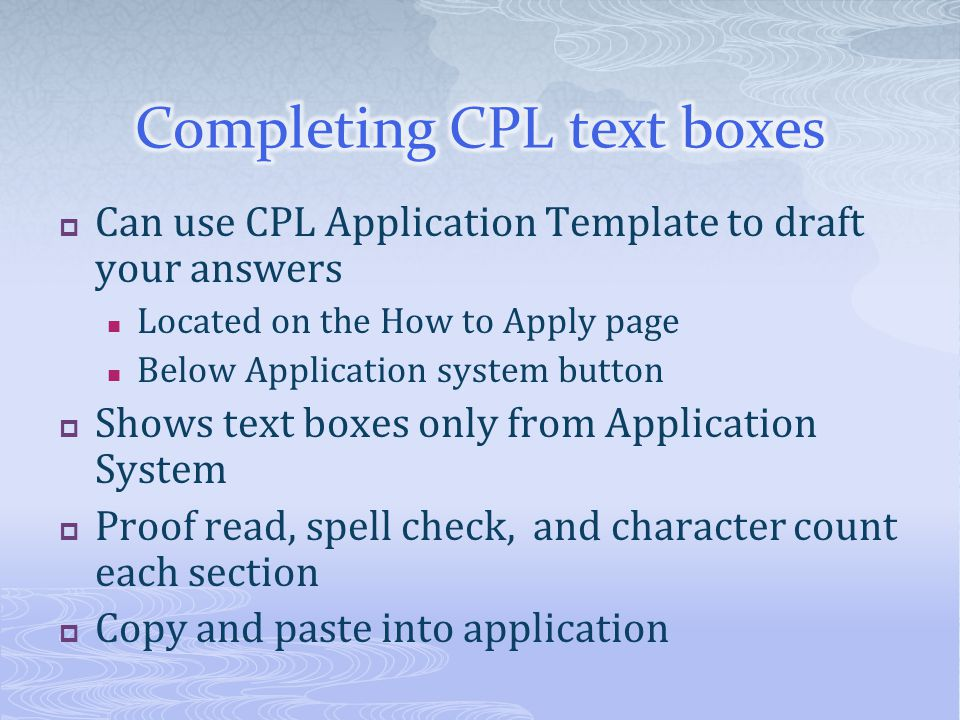 Completing CPL text boxes