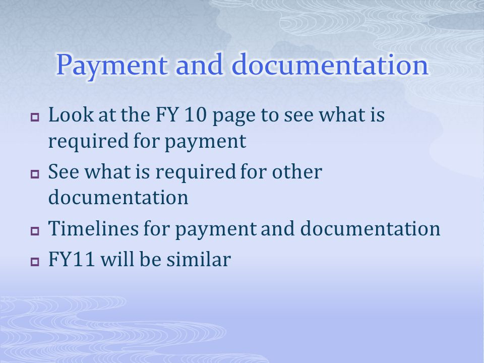 Payment and documentation