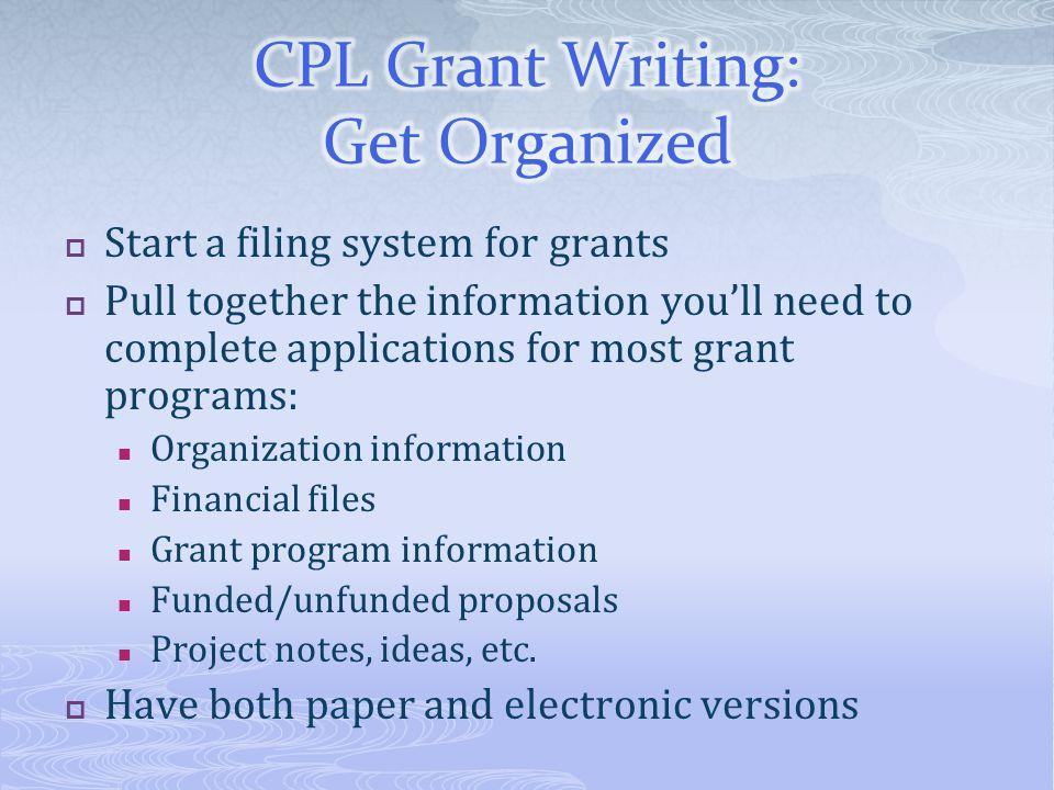 CPL Grant Writing: Get Organized