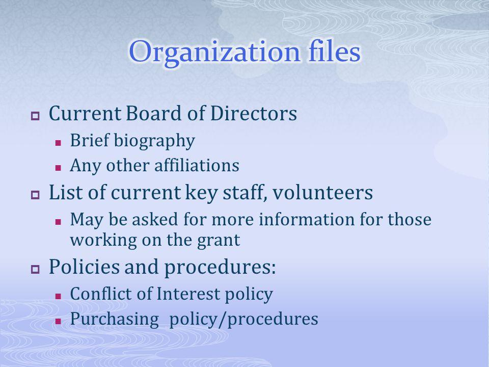 Organization files Current Board of Directors