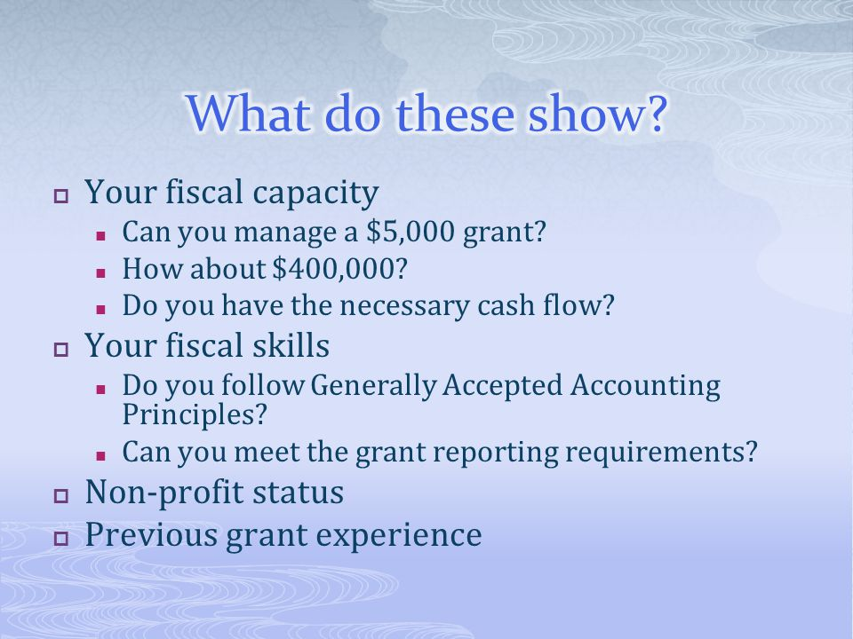 What do these show Your fiscal capacity Your fiscal skills