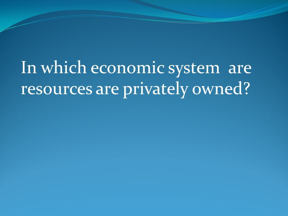 In which economic system are resources are privately owned