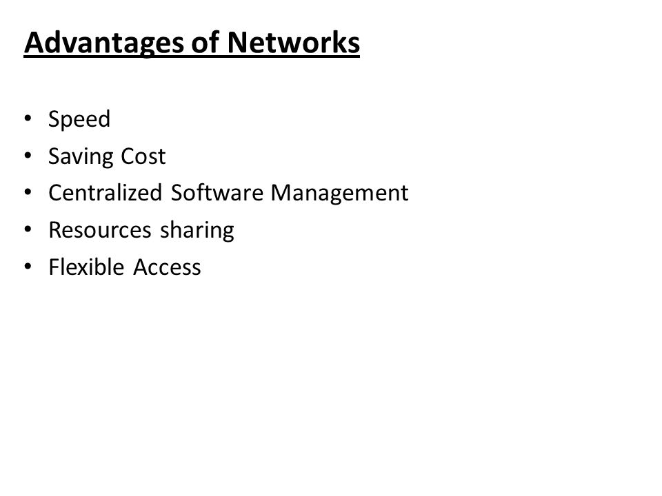 Advantages of Networks