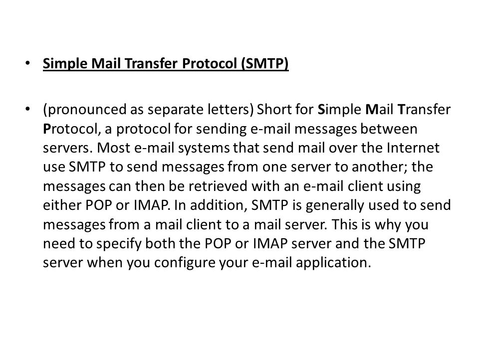 Simple Mail Transfer Protocol (SMTP)
