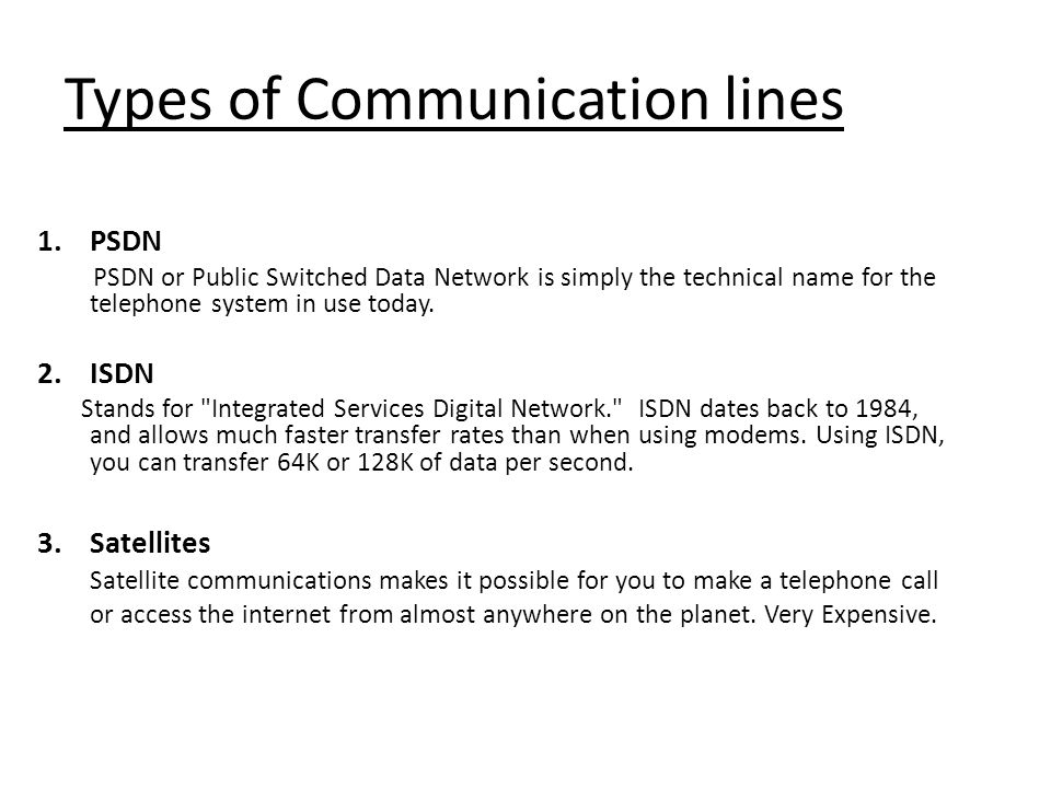 Types of Communication lines