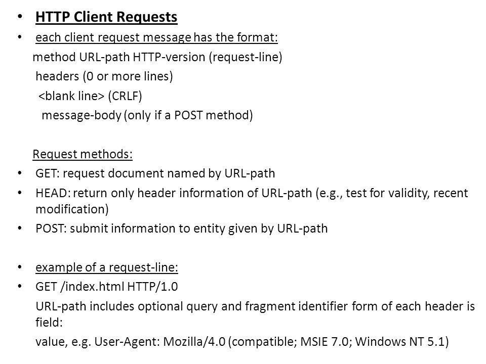 HTTP Client Requests each client request message has the format: