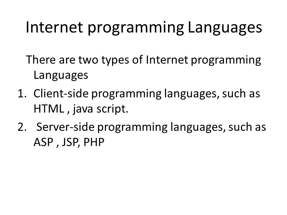 Internet programming Languages